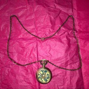 Jewelry - Antique look brass tone necklace clock locket